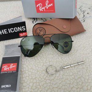 Ray-Ban Aviator Sunglasses Black/Green 58mm
